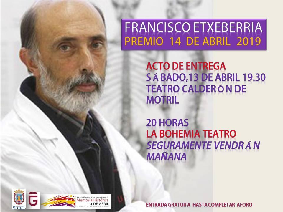 Francisco Etxeberría, antropólogo forense, Premio 14 de Abril 2019