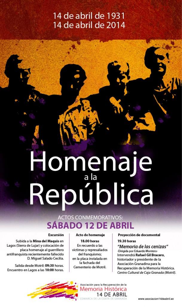 Cartel Homenaje a la República. 12 de abril de 2014